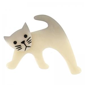 broche chat ouistiti blanc