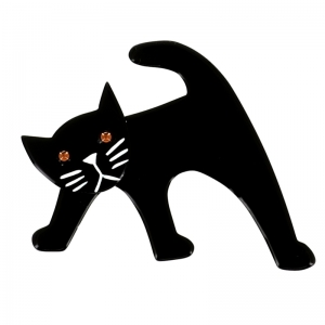 broche chat ouistiti noir