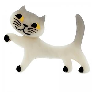 broche chat titi blanc