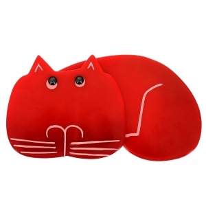 broche chat tommy rouge