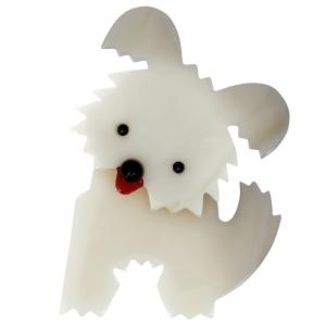 broche chien bobby blanc