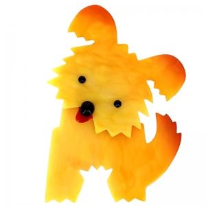 broche chien bobby jaune clair