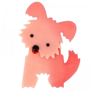 broche chien bobby rose clair