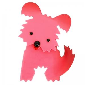 broche chien bobby rose vif