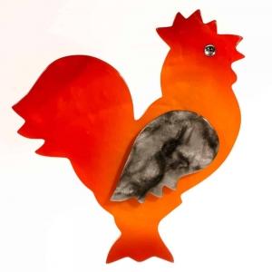 broche coq orange