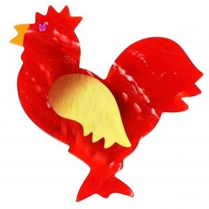 broche coq rouge flamme