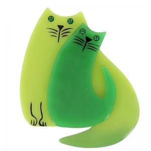 broche double chat anis vert
