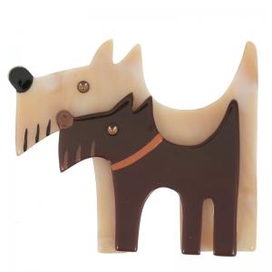 broche double chien miel marbre et chocolat