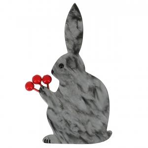broche lapin fleurs gris