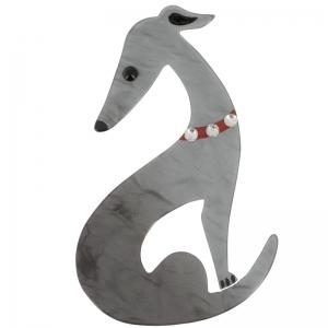 broche levrier gris