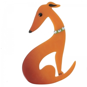 broche levrier orange