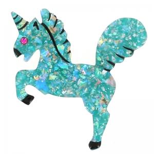 broche licorne turquoise brillant
