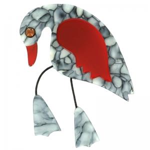 broche oiseau twisty gris marbre et rouge