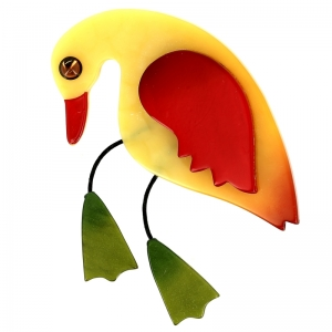 broche oiseau twisty jaune clair rouge vert mousse