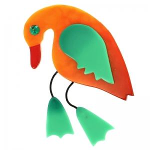 broche oiseau twisty orange et vert lagon