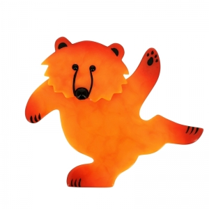 broche ours dansant orange