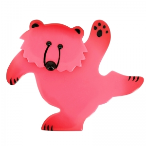 broche ours dansant rose vif