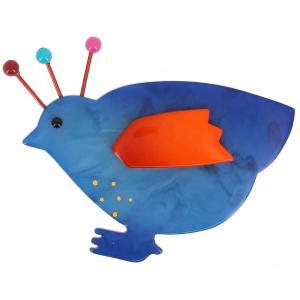 broche poule bleu et orange