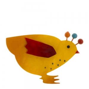 broche poule jaune