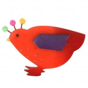 broche poule orange et violet