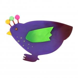 broche poule violette