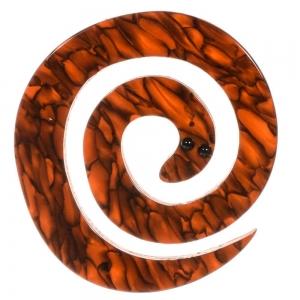 broche serpent enroule roux