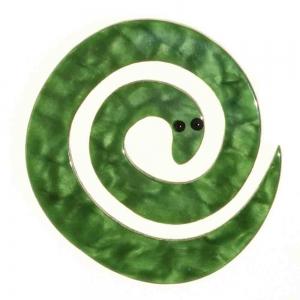broche serpent enroule vert