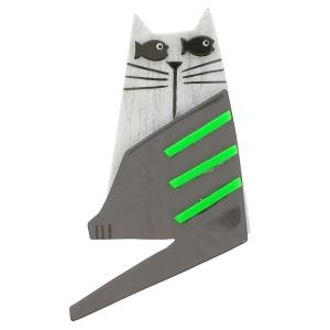 Chat Nono blanc stries gris vert