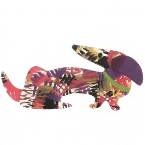 broche chien fifi motifs rose violet ocre