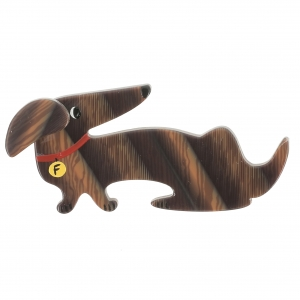 broche chien fifi raye brun