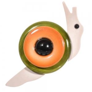 broche petit escargot vert orange