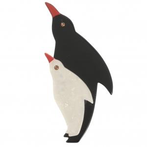 broche pingouin noir blanc brillant 1