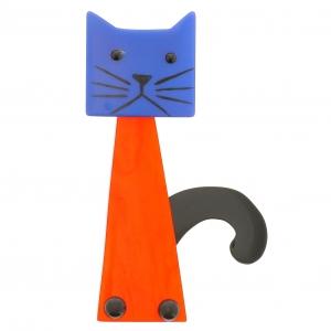 chat cafetiere orange bleu