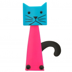 chat cafetiere rose vif turquoise