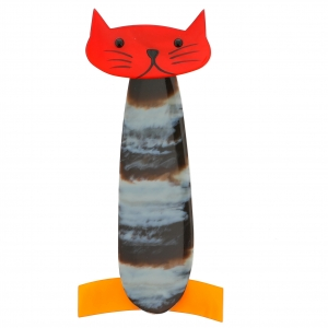 chat long rayures rouge jaune 1