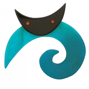 chat spirale ronde turquoise