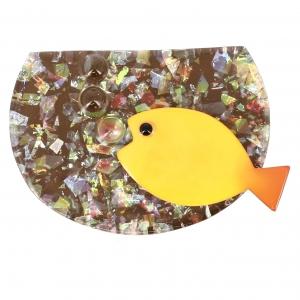Broche Aquarium beige brillant jaune
