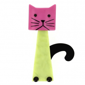 Broche Chat Cafetière anise fuchsia