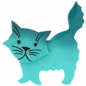 Broche Chat Fripon turquoise clair