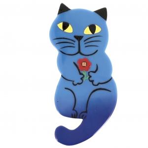 Broche Chat Leon bleu gitane