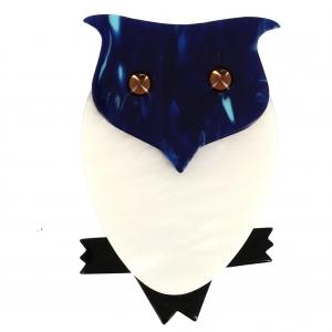Broche Hibou blanc bleu