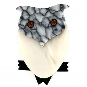 Broche Hibou blanc gris marbre