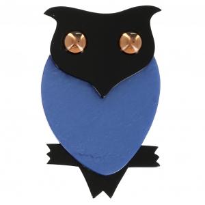 Broche Hibou bleu noir
