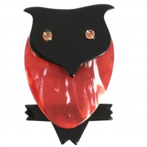 Broche Hibou rouge flamme noir