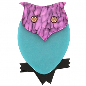 Broche Hibou turquoise rose marbre