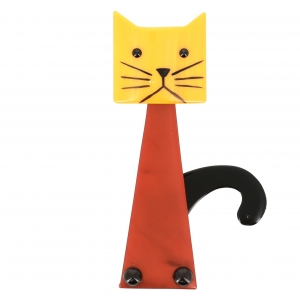 Broche chat Cafetiere brique jaune