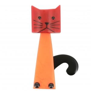 Broche chat Cafetiere orange rouge