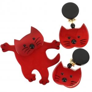 Ensemble Chat Dansant rouge