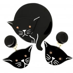 Ensemble Chat Double Lune noir