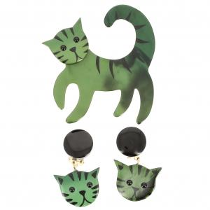 Ensemble Chat Tigron vert